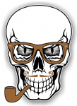 GOTHIC Hipster SKULL With GREY Evil Eyes and Pipe & Glasses Motif External Vinyl Car Sticker 100x70mm
